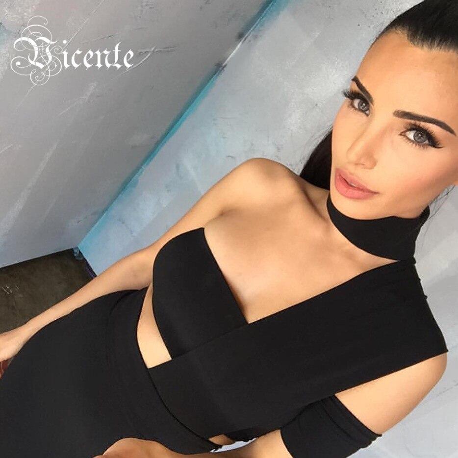 Vicente 2018 New HOT Elegant Choker Top Design Inspired Tube Midi Length HL Party Celebrity Bandage Dress