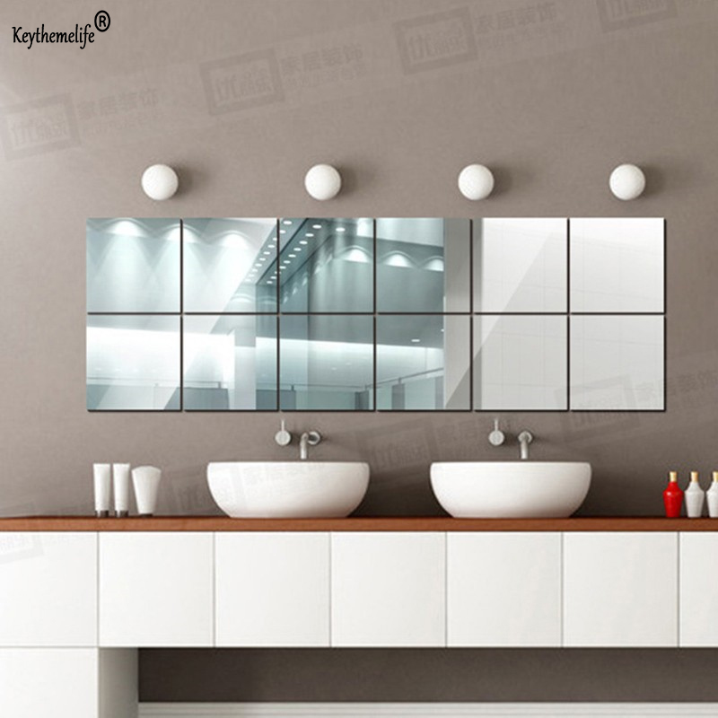 Keythemelife 10pcs Square Acrylic Mirror Wall Stickers Art ...