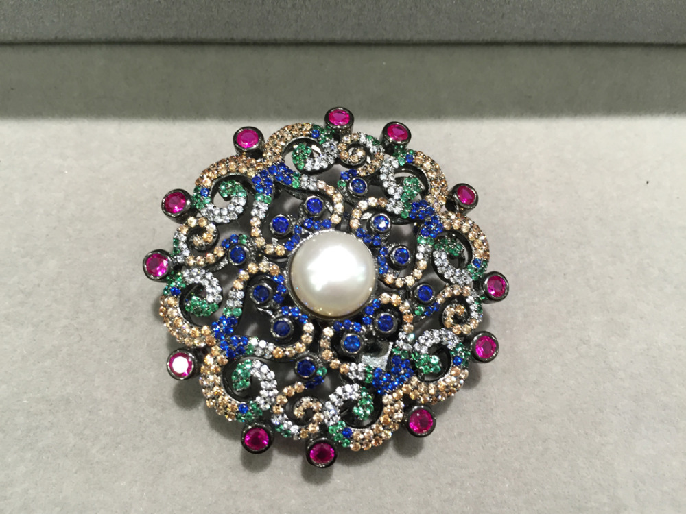 Diybijoux trouver et composants fermoirs de collier argent avec zircon antique multicolore mode femmes bijoux