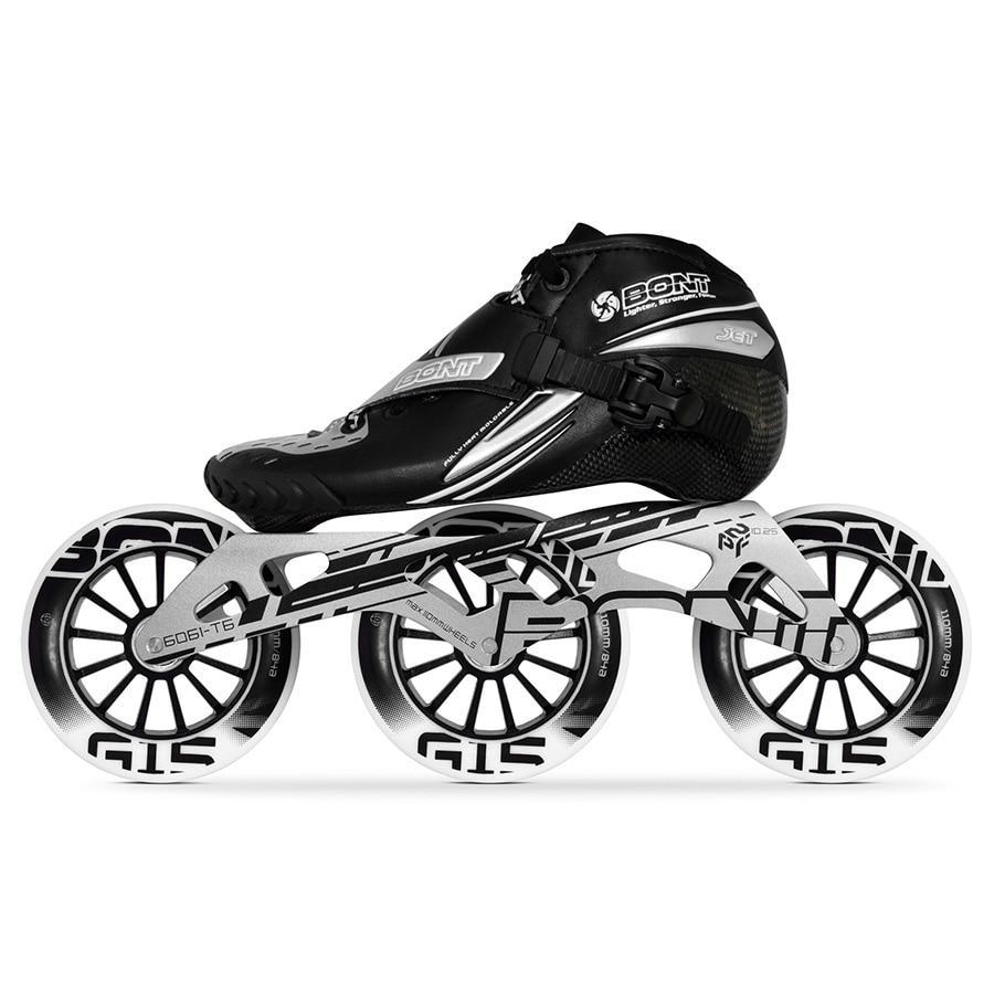 100% D'origine Bont Jet Vitesse roller-skates Taille 29-40 Heatmoldable Carbone fibre Boot Cadre 3*100/110mm G16 Roues Racing Patines