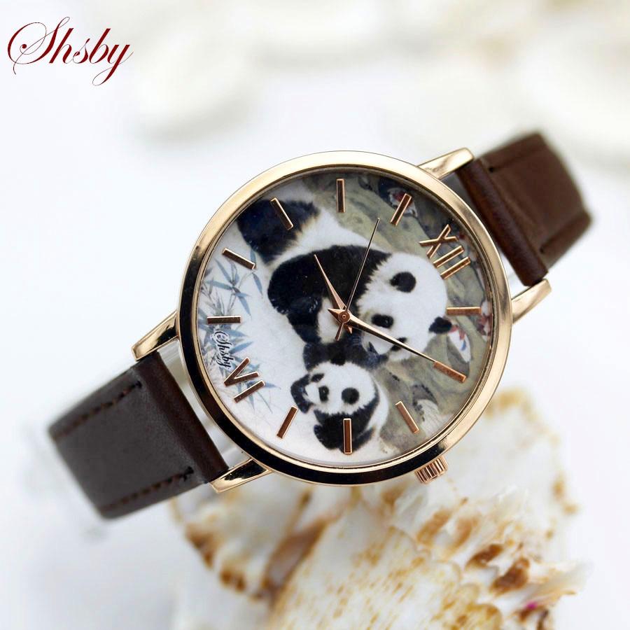 Shsby Brand Leather Strap Women Dress Watch Fashion Peacock Panda Rabbit Casual Quartz Watch Ladies WristWatch Relogio Feminino