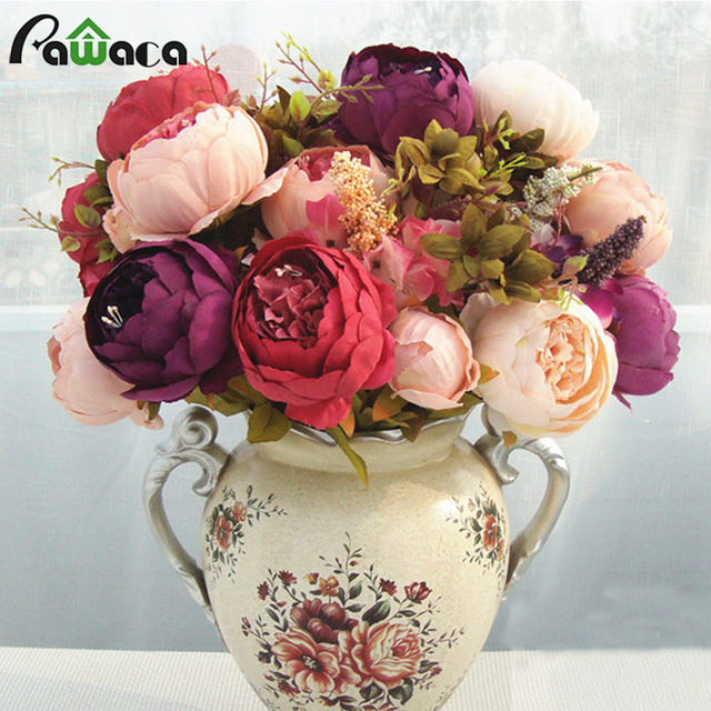 ac516bd8fe Home Decorative Flowers European Artificial Silk Flowers China 13 Branches  Fall Fake Vivid Peony For Wedding Party Decoration