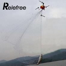 Relefree Nylon Fishing Net W/ Copper Spring Connector 2.0-5.0cm Mesh Size Luminous Beads  Carp Folding Fishing Net