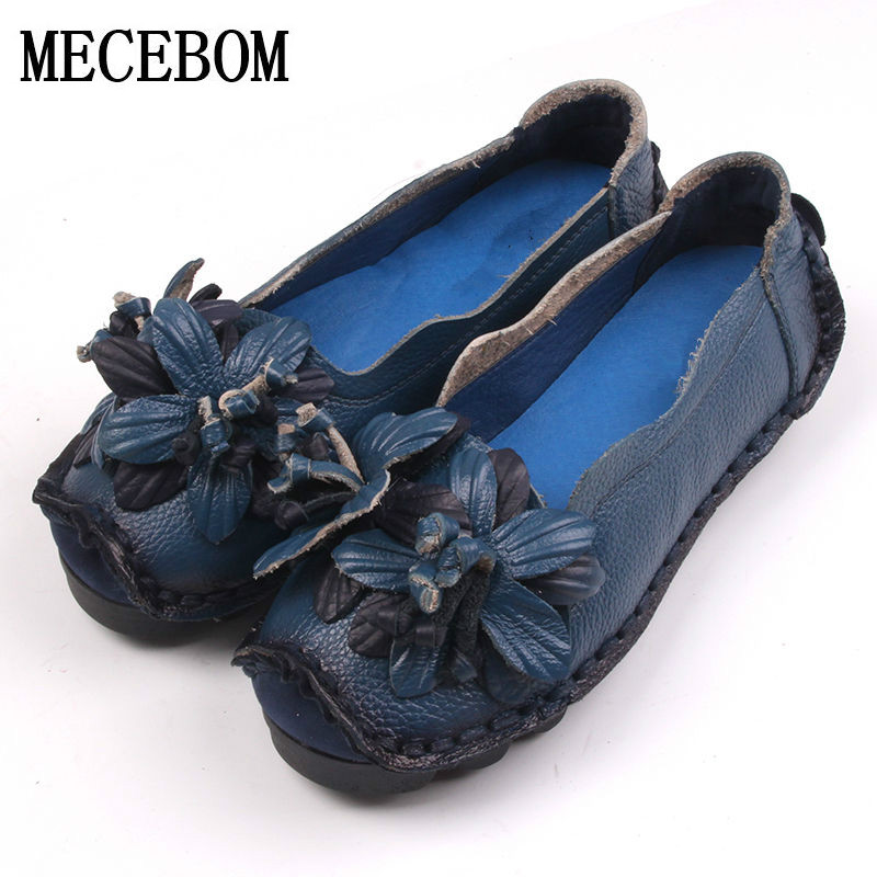 2017 National Wind Flowers Handmade Genuine Leather Shoes Women Retro Soft Bottom Flat Shoes Summer vintage Ballet Flats 349W vintage embroidery women flats chinese floral canvas embroidered shoes national old beijing cloth single dance soft flats