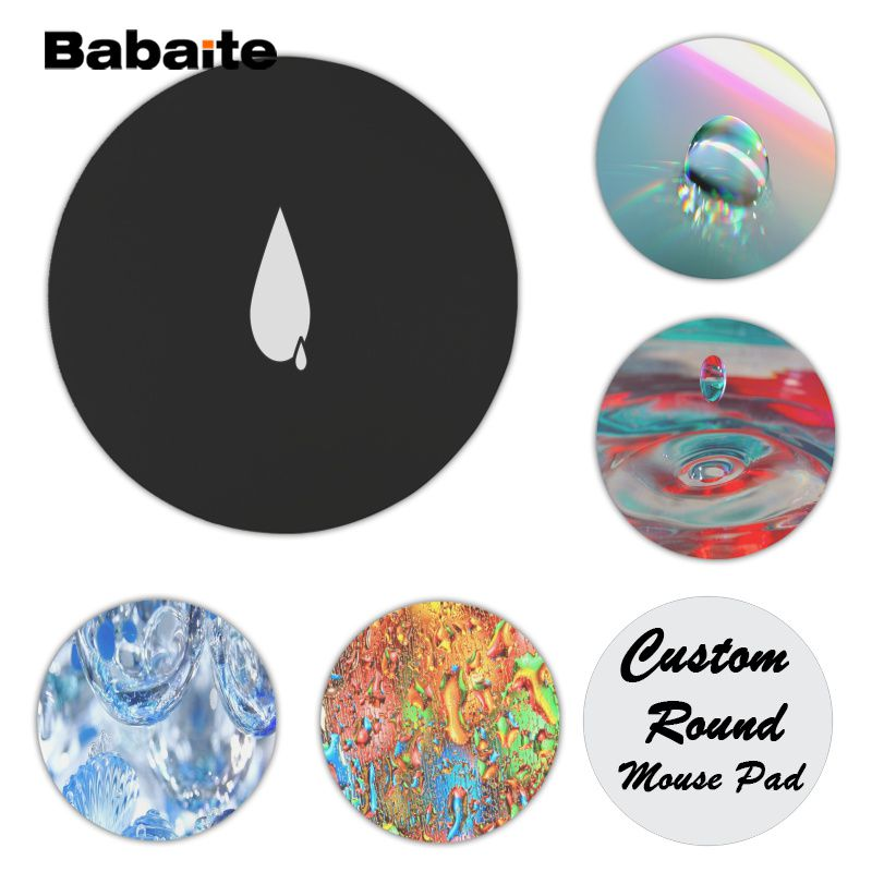 Babaite Vintage Cool Drop of water Silicone Pad to Mouse Game Size for 20x20cm 22x22cm Rubber Round Mousemats