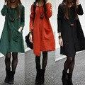 Mezcla de Algodón coreano Ocio Flojo de Gran Tamaño de costura irregular de La Calle Vestido Ocasional Invierno de Las Mujeres Vestidos