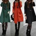 Mistura de Algodão coreano Lazer Solto Tamanho Grande costura irregular Rua Vestido Ocasional Das Mulheres Vestidos de Inverno