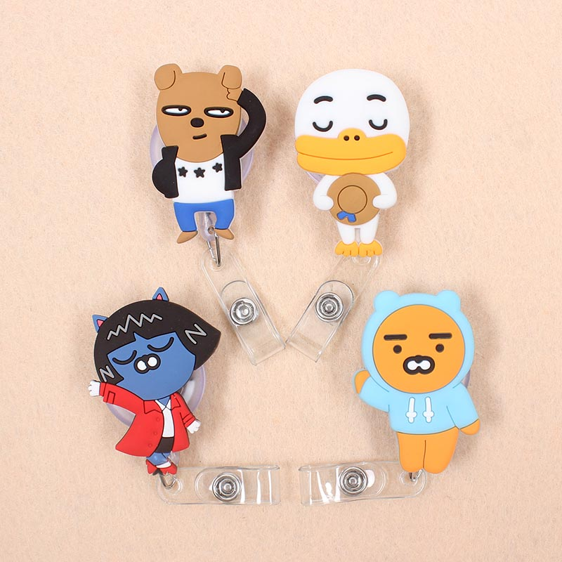 Cartoon 60cm Silicone Bear & Duck Retractable Identity Badge Reel Student Nurse Exhibition Enfermera Name Card ID Card Chest