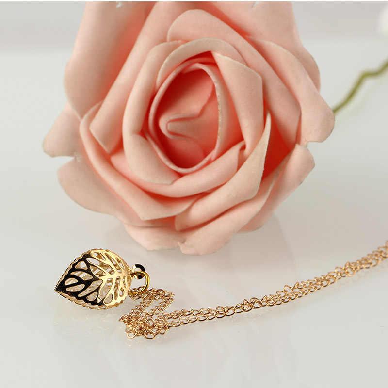 Creux feuille pendentif cristal colliers pour femmes maman or en trois dimensions feuilles déclaration charme chaîne collier femme bijoux