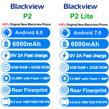 Blackview P2 Lite P2 4G Mobile Phone Android 6.0 Octa Core 6000mAh Battery Dual SIM 5.5 inch Cell Phone