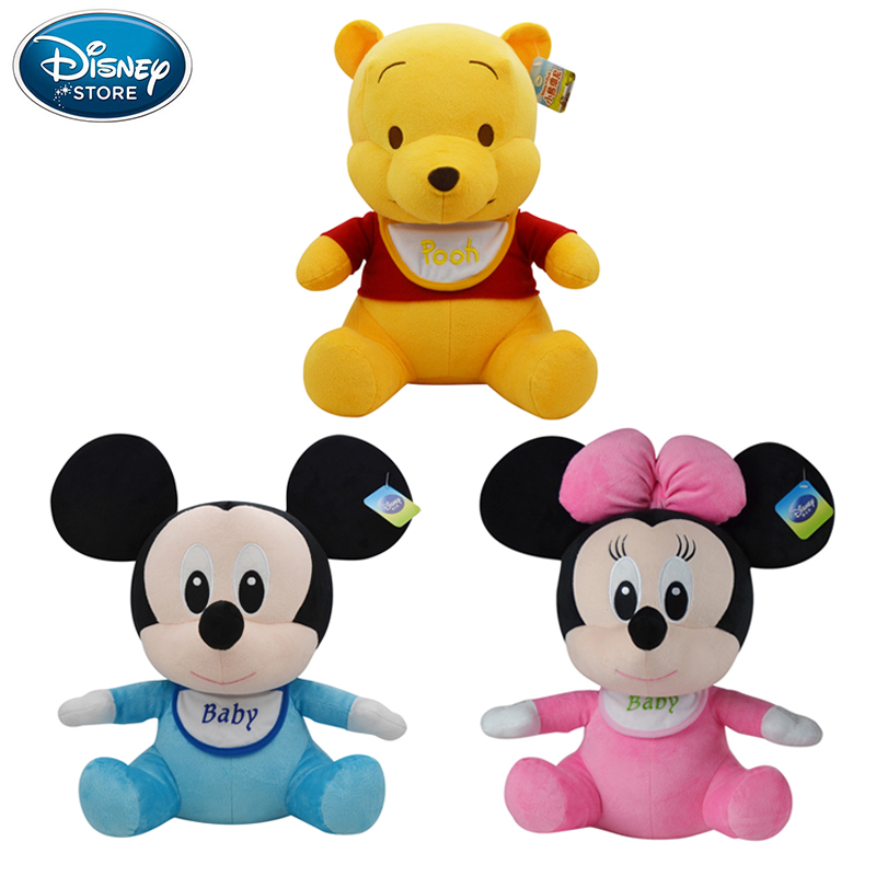 Disney Plush Toys 21cm Baby Winnie The Pooh Mickey Mouse Minnie Stuffed Doll  Boys Girls Birthday Gift For Baby Children 1pcs 28cm minnie and mickey mouse low price super plush doll stuffed animals plush toys for children s gift