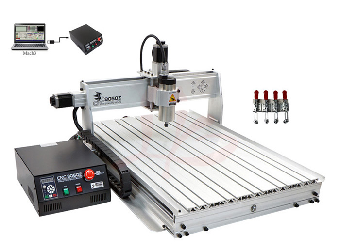 Aluminum cnc  machine CNC 8060 3 axis cnc router engraver with USB Port 1500w cnc router 8060 3axis usb port mach3 control ball screw for metal aluminum stell wood etc