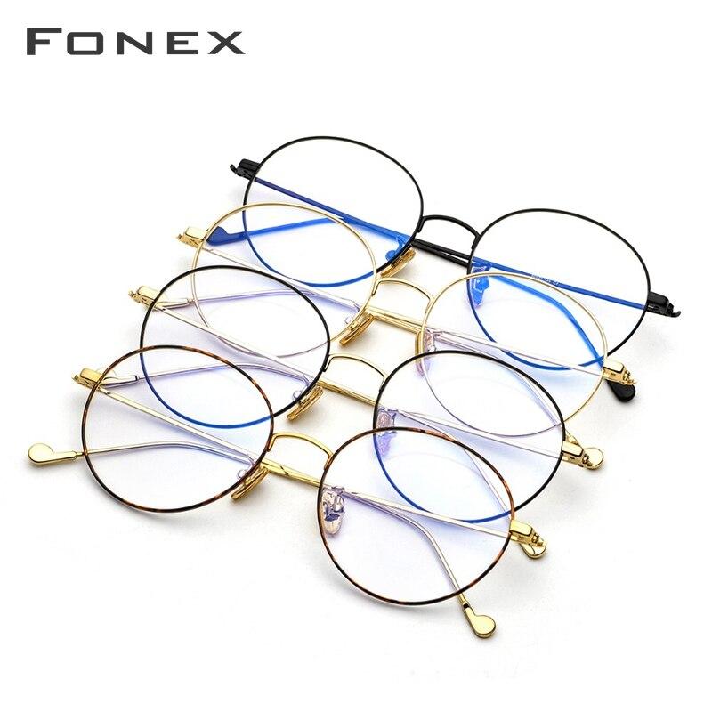 Titane pur lunettes cadre hommes rond Prescription lunettes lunettes Vintage rétro myopie optique lunettes femmes lunettes - 5