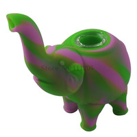 New elephant pattern Silicone Tobacco Pipes Silicone Smoking Pipes VS Glass Water Pipes Glass Bubblers Smoking Pipe