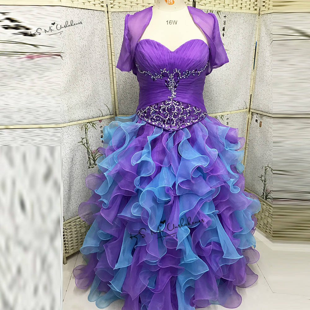 Vestidos de Quince Anos 2017 Cheap Purple Blue Quinceanera Dresses Plus Size Masquerade Ball Gowns with Jacket Sweet 16 Dresses