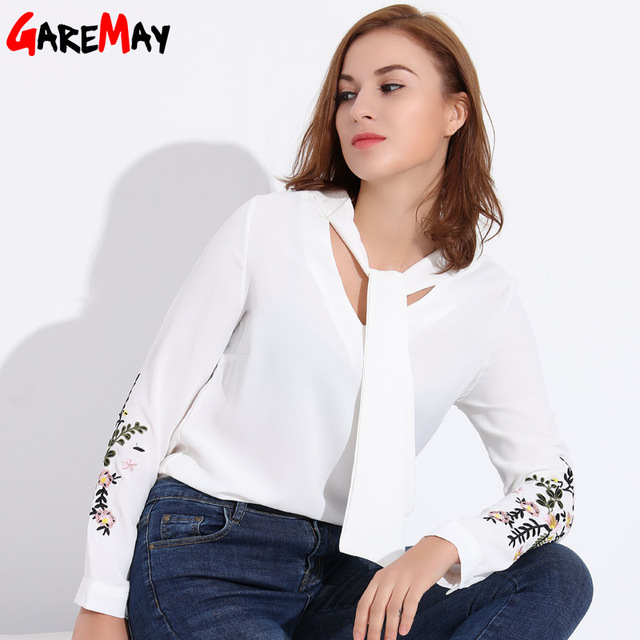 2201918203 Escritório Mulheres Blusas Camisa Branca Bordado Bow Blusa Chiffon Mulheres  Blusa Feminina Tops Bordados Plus Size