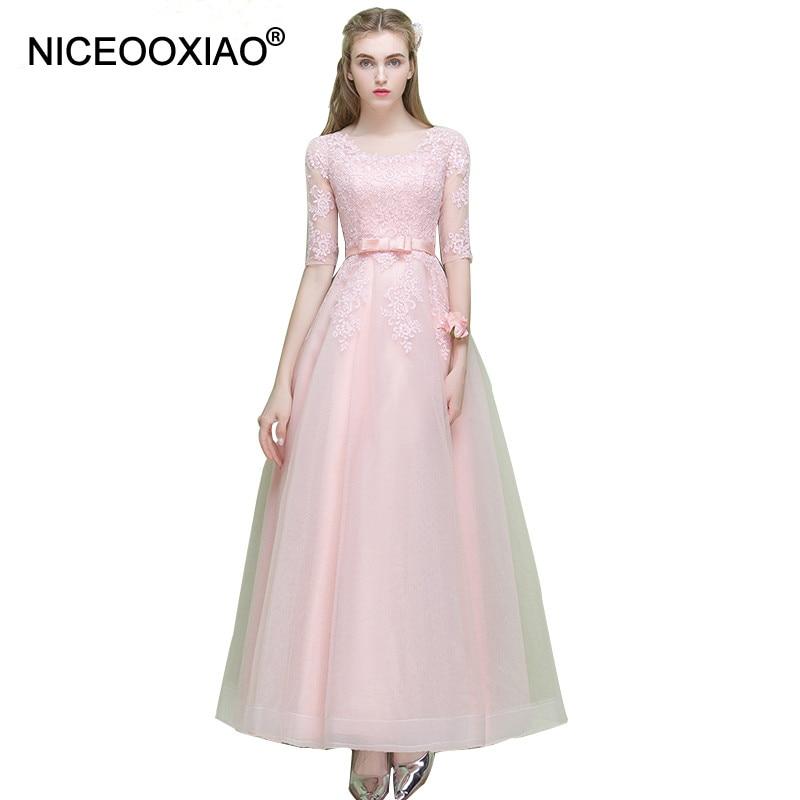 NICEOOXIAO Sweet Pink Lantai-Panjang Renda Setengah Lengan Lady Evening Dress Formal Prom Party Dress SAHAM Custom-Made Diterima