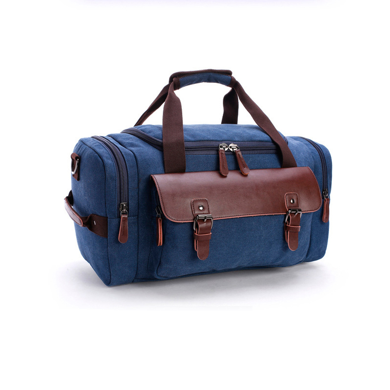 Casual Male Canvas Travel Bags Genuine Leather Duffle Bag Pure Color Large Capacity Men Handbag Fashion