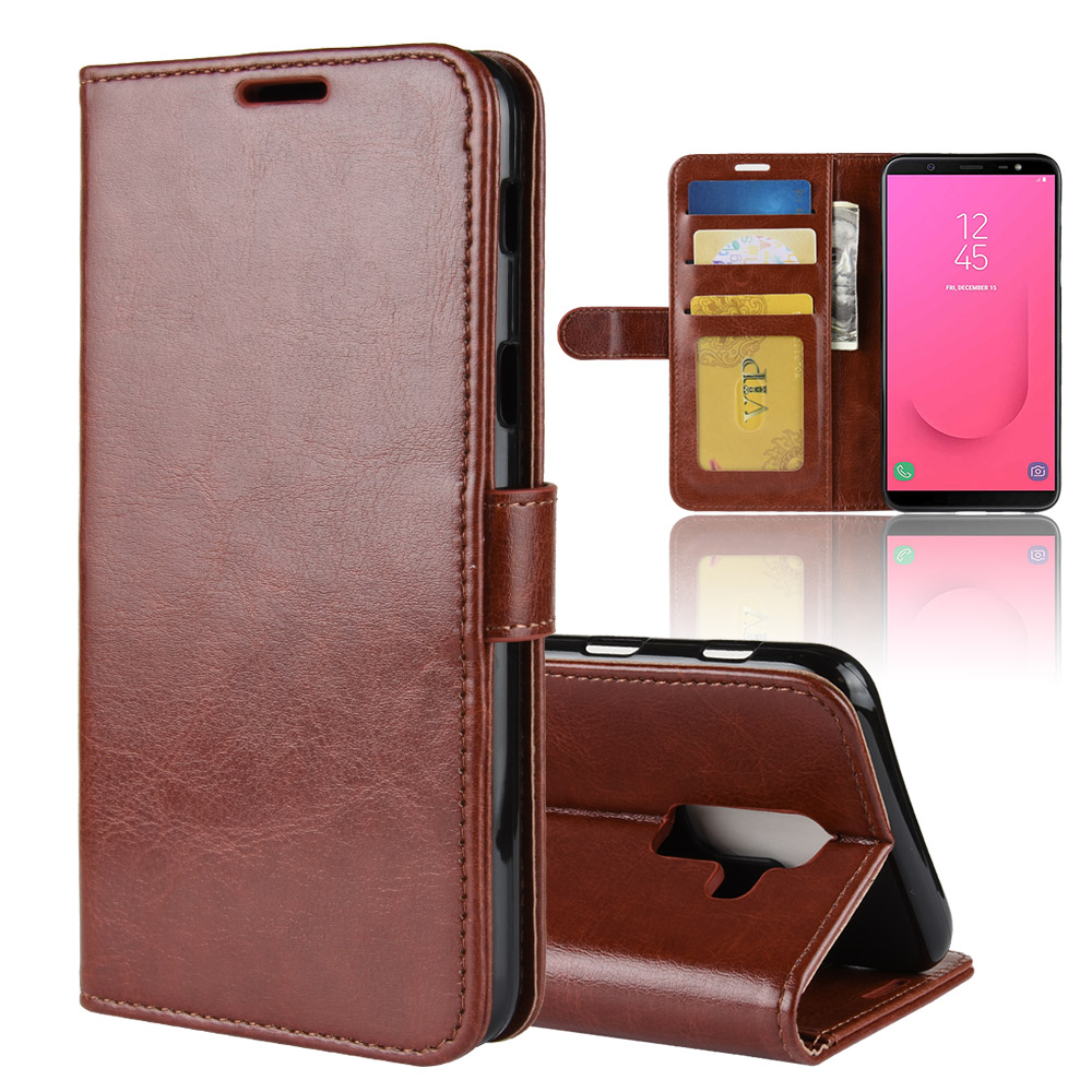 J8 Case for Samsung Galaxy J8 2018 Cases Wallet Card Stent Book Style Flip Leather Covers Protect Cover black J800 SM J800FN