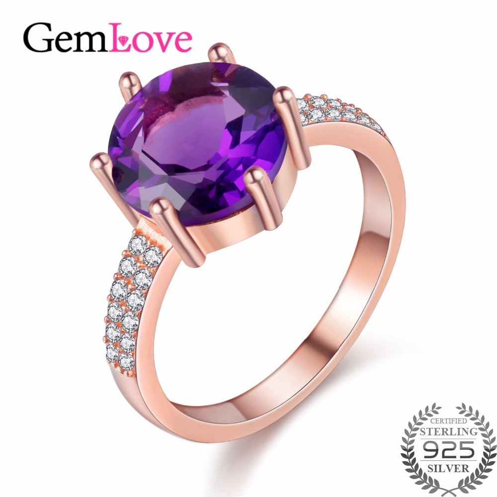 Gemlove Amethyst Natural Gemstone Ring Rose Gold Plated 925 Sterling Silver Engagement  Rings For Women Gifts