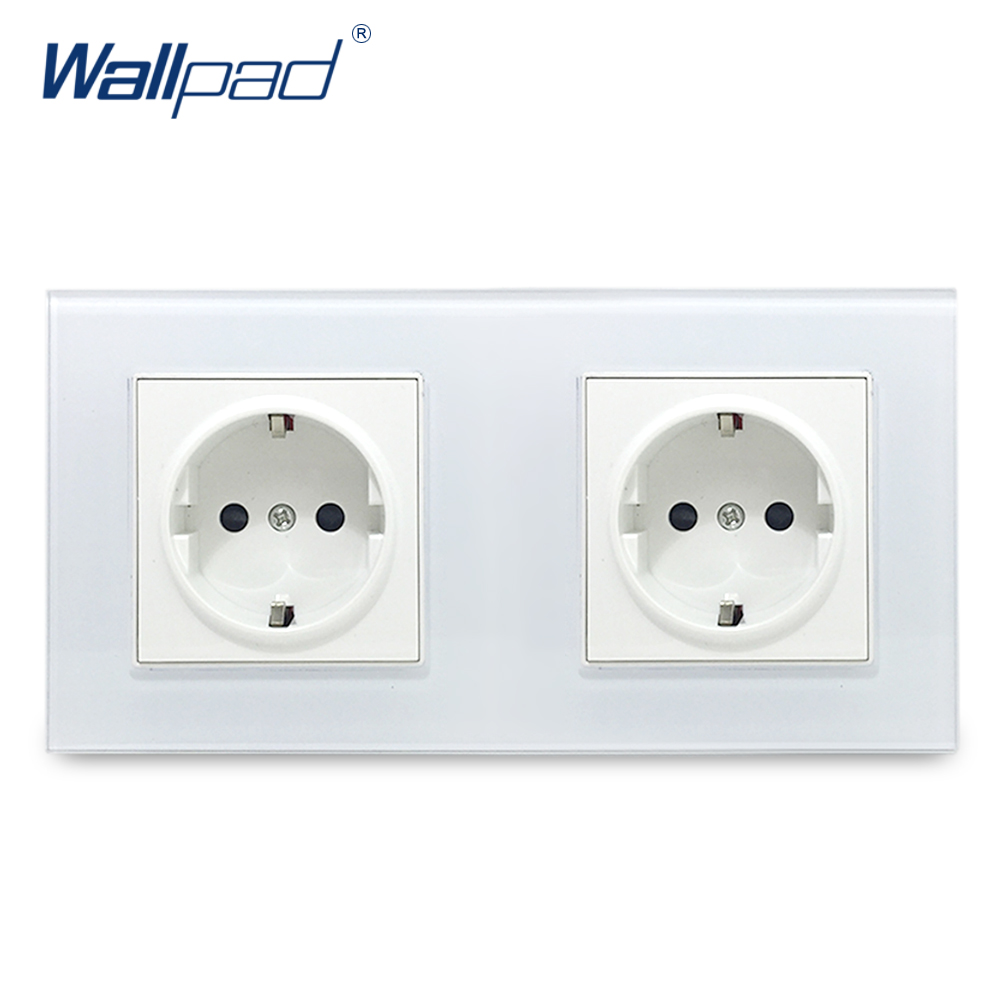 Double EU 2 Pin German Socket Wallpad Luxury Crystal Glass Panel Electric Wall Power Socket 172*86mm 2018 hot sale 6 pin multifunction socket wallpad luxury wall switch panel plug socket 118 72mm 10a 110 250v