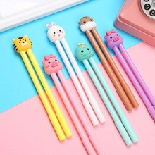 2 pcs/set Hamster Pig Rabbit Dinosaur gel pens Cute 0.5mm black ink neutral pen stationery gift school writing supplies