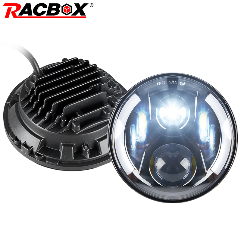RACBOX 80W 7 Inch Round With CREE LED Chips LED Headlight Kit H4 H13 High Low Beam For Lada Jeep Wrangler JK 2009-2015 Headlamp 7 inch round led headlight motorcycle led for jeep wrangler 7 inch 80w headlight round low hi beam headlamp for harley