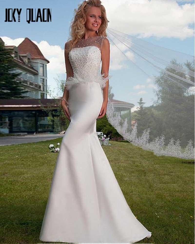 joky quaon lace up back slim beading feathers mermaid wedding dress 2017 white satin abiti da sposa floor length vestido branco