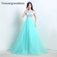 Forevergracedress Real Photos Mint Color Prom Dress Gorgeous A Line Lace Top Long Formal Party Gown Plus Size