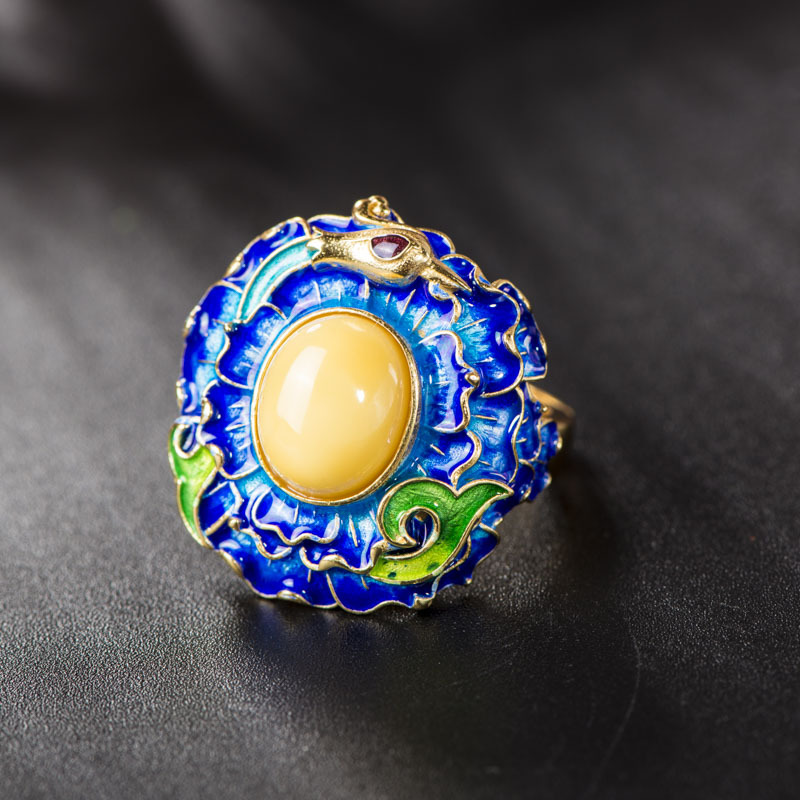Retro Thai S925 Sterling Silver Ring Wholesale Cloisonne Silver Natural Beeswax Gems Women Open Ended Ring WholesaleRetro Thai S925 Sterling Silver Ring Wholesale Cloisonne Silver Natural Beeswax Gems Women Open Ended Ring Wholesale