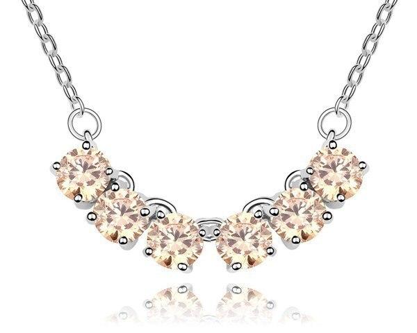 21081b61e21d Luz Champagne AAA cubic ZIRCON colgante collar cadena diseño llano boda  Collar para hombres y mujeres regalo de San Valentín venta