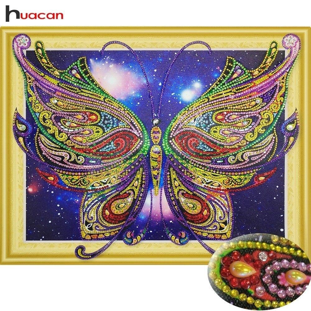 HUACAN Spezielle Förmigen Diamant Malerei Schmetterling Bild Von Strass 5D DIY Diamant Stickerei Tier Home Decor 40x50 cm