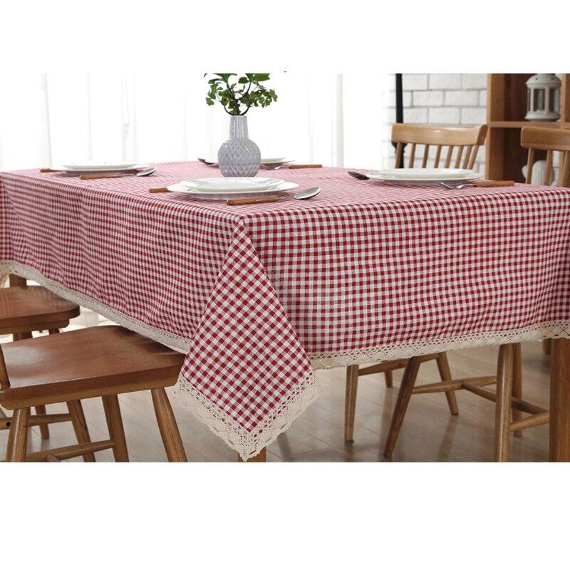 Algodão e Linho Toalha de Mesa Pano Nordi Treliça Copo Retangular Table Cover Japonês estilo Pastoral Manteles Mantel Nappes