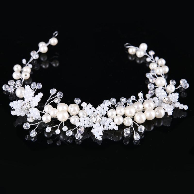 Dower me Handmade Beaded Flower font b Wedding b font Headband Hair Vine Gold Silver Bridal