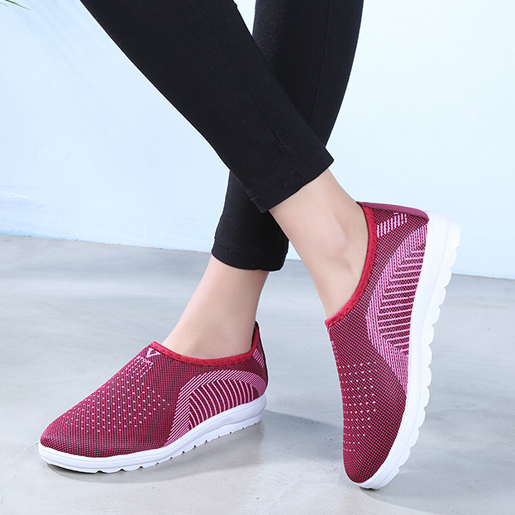 HTB1kb1JainrK1RjSsziq6xptpXa9 MUQGEW Women's Mesh Flat shoes patchwork slip on Cotton Casual shoes for woman Walking Stripe Sneakers Loafers Soft Shoes zapato