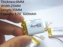 Bateria de Polímero Personalizado por Atacado Frete Grátis de Lítio 3.7 V 600 062535 Pode SER CE FCC Rohs Msds Certificação Qualidade