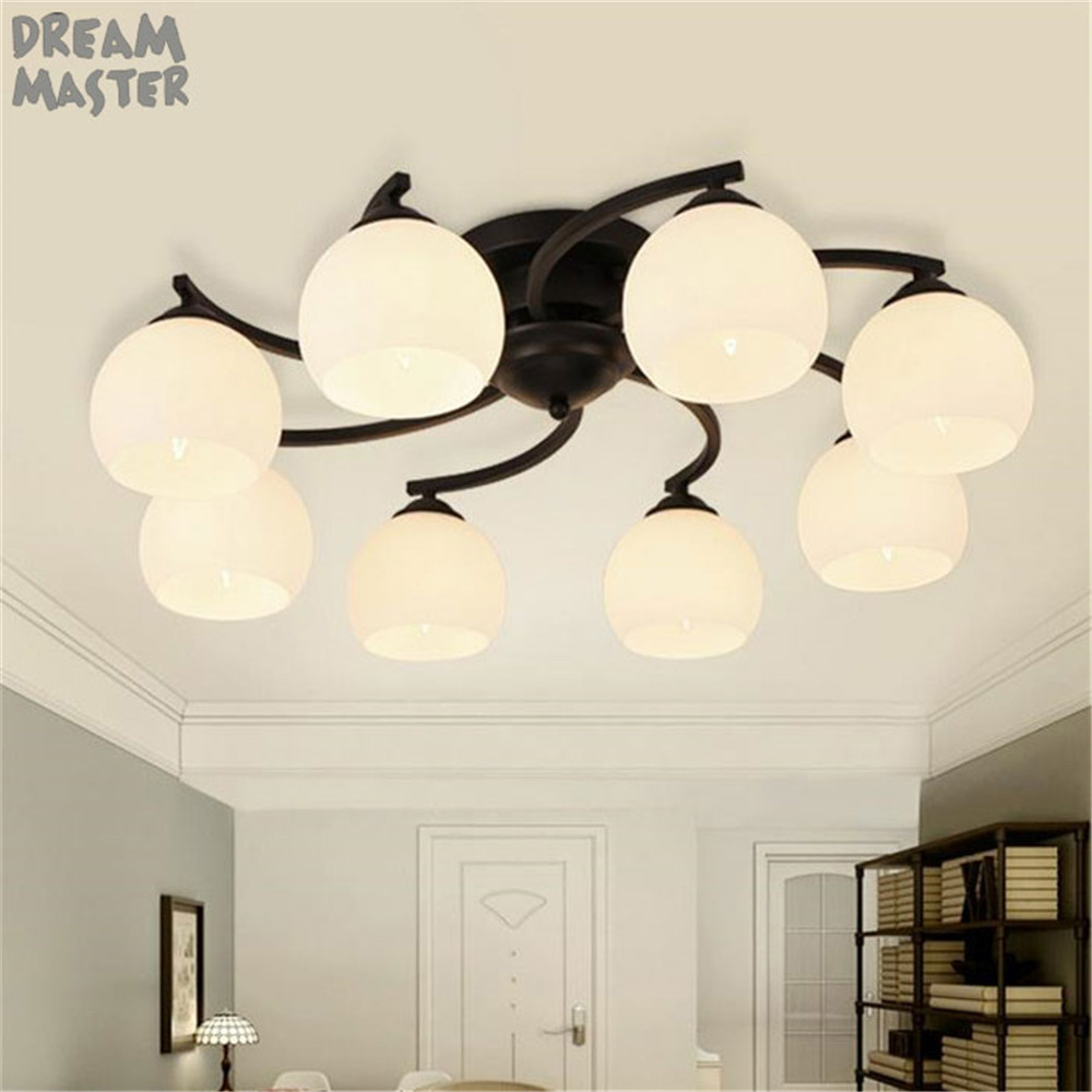 Modern Wrought Iron ceiling chandelier windmill lamp lustre art deco living room bedroom home lighting tree branch lamba lampara noosion modern led ceiling lamp for bedroom room black and white color with crystal plafon techo iluminacion lustre de plafond