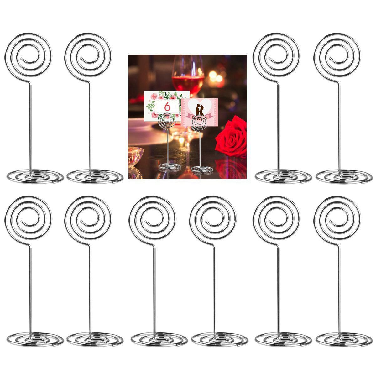 Hot Sale 10pcs Swirl Table Number Photo Holder Stands For Weddings Party Gatherings(China)