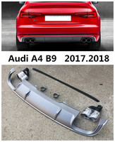 Car Rear Lip Spoiler For Audi B9 A4=S4 2017.2018 High Quality PP ABS Bumper Diffuser Auto Accessories BLACK . Grey