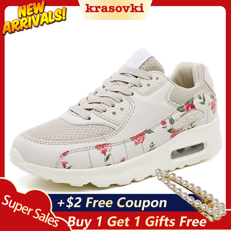 Krasovki Sneakers Women Fittness Shoes Floral Designer Spring Autumn Breathable Platform Flats  Winter