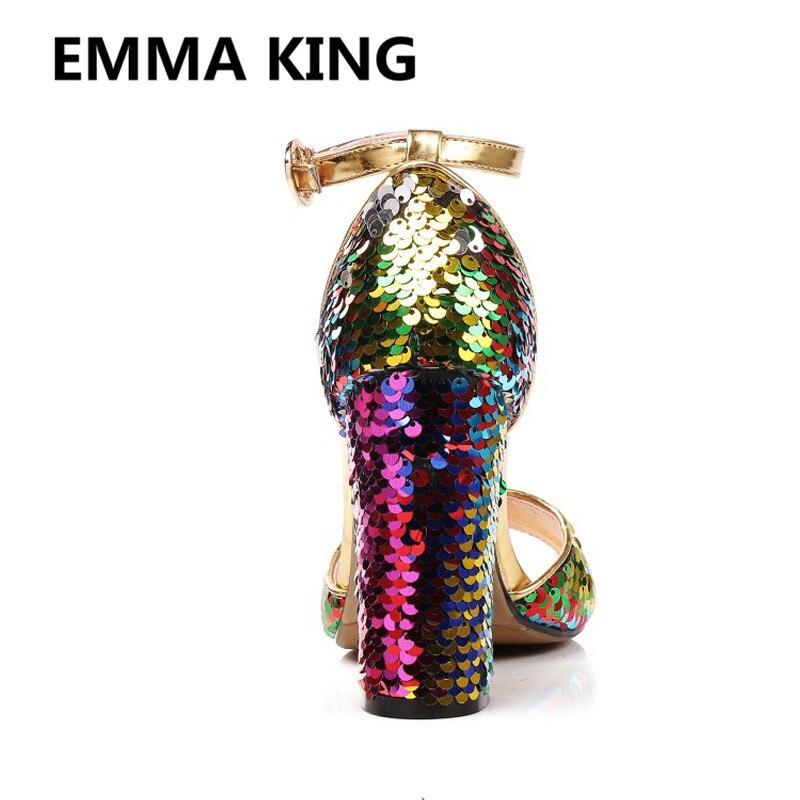 Nova Glitter Bling Bling Sandálias Das Mulheres Do Partido Tira No Tornozelo Do Dedo Do Pé Aberto Grossas de Salto Alto Senhoras Sapatos Da Moda Mulher Sandálias Gladiador - 4