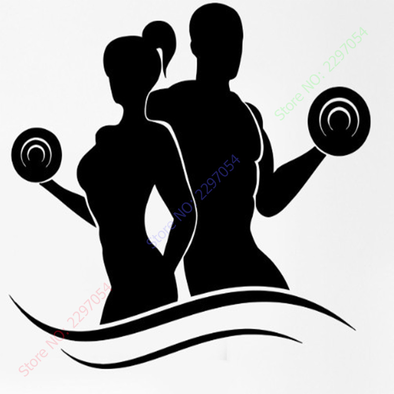 Fashion Fitness Vinyl Wall Decals Lady Man Bodybuilding