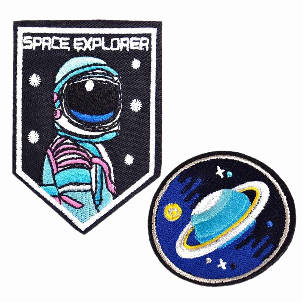 Glitzy Space Planet Patch Saturn Sequin Iron On Patch Embroidered Applique Bling Space Galaxy Badge DIY Embroidery Pop Culture Gift