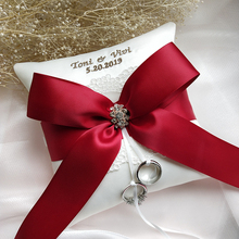 NEW Wedding Ring Pillow Red Ribbon bow Customized Name date Bridal Pillows Party Decoration Valentine Day Festive Supplies