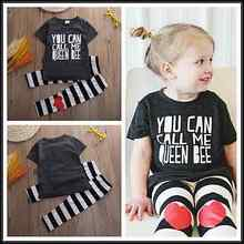 2016 Top Toddler Kids Baby Girls Outfit Clothes Short Sleeve Letter Printed T-shirt Tops+Long Striped Heart Pants 2019 недорого