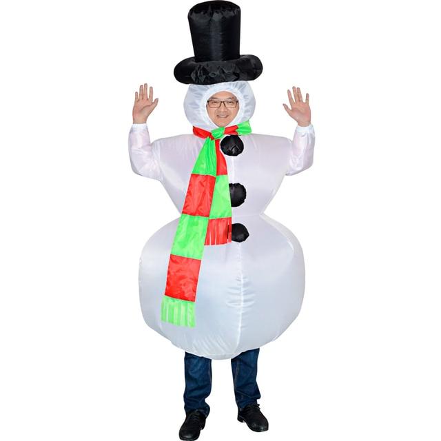 Новый надувной снеговик взрослый человек и женский костюм Косплей Необычные праздничное платье на Хэллоуин Новый год костюмы для взрослых