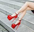 17CM fine with ultra-high water table with women Sexy red metal wedding dress shoes