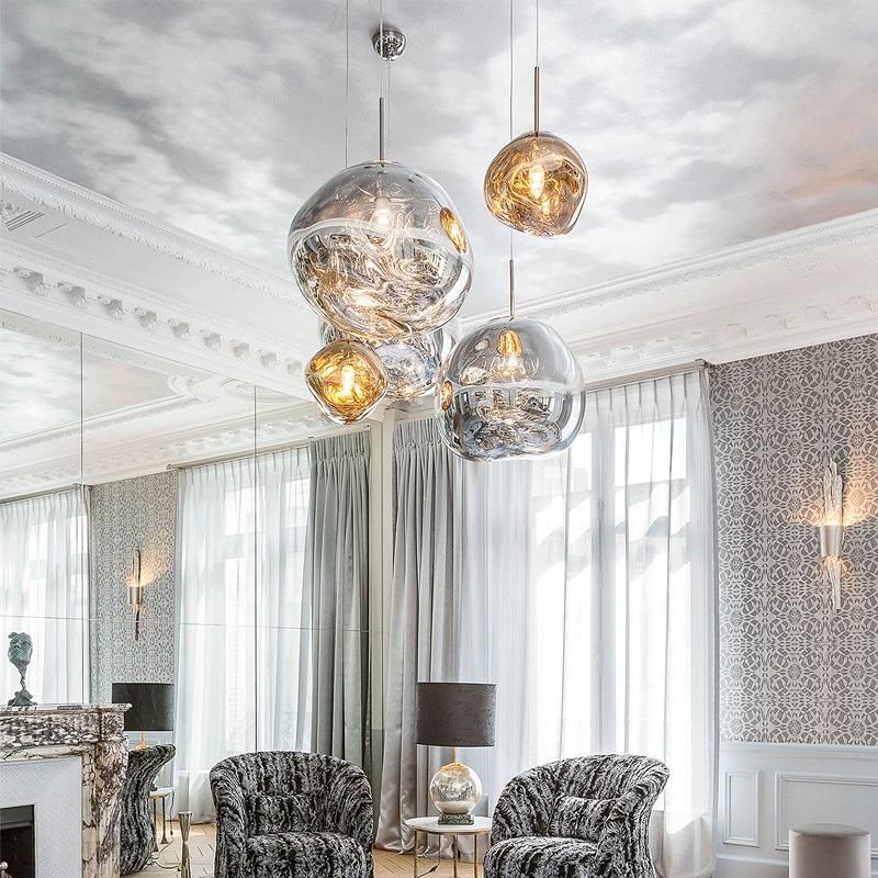 Modern Pendant Light Nordic Melt Glass Ball Hanglamp for Living Room Bedroom Lamp Restaurant Home Lighting Pendant Lamp fixtures