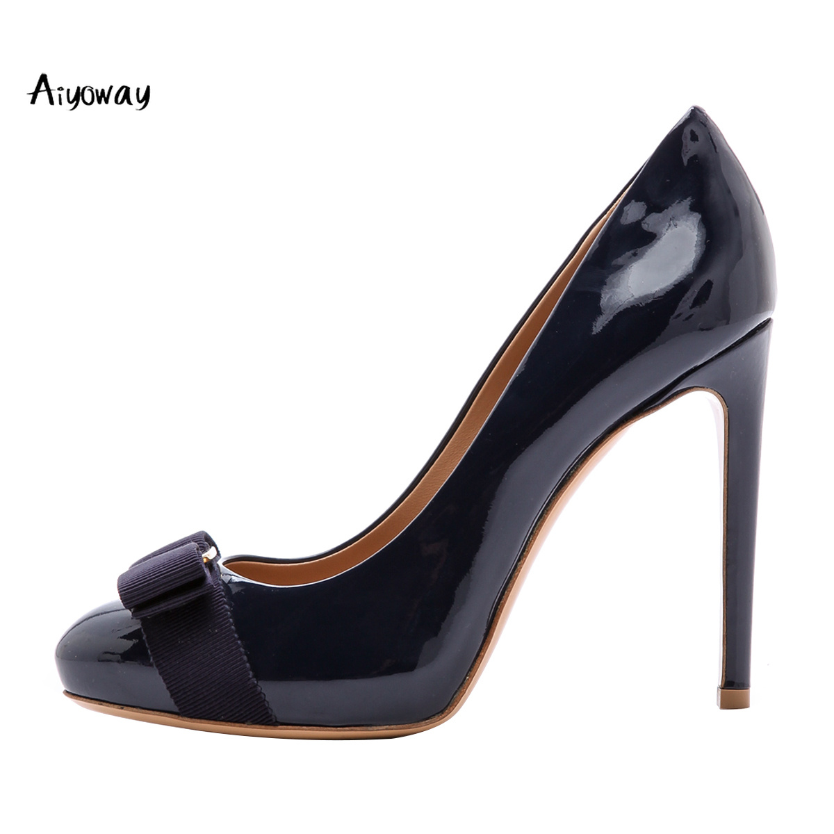 59699888c9d0 Aiyoway Fashion Women Shoes Round Toe High Heels Bow Pumps Slip-on Autumn  Spring Party Shoes Patent Leather Dark Blue Red