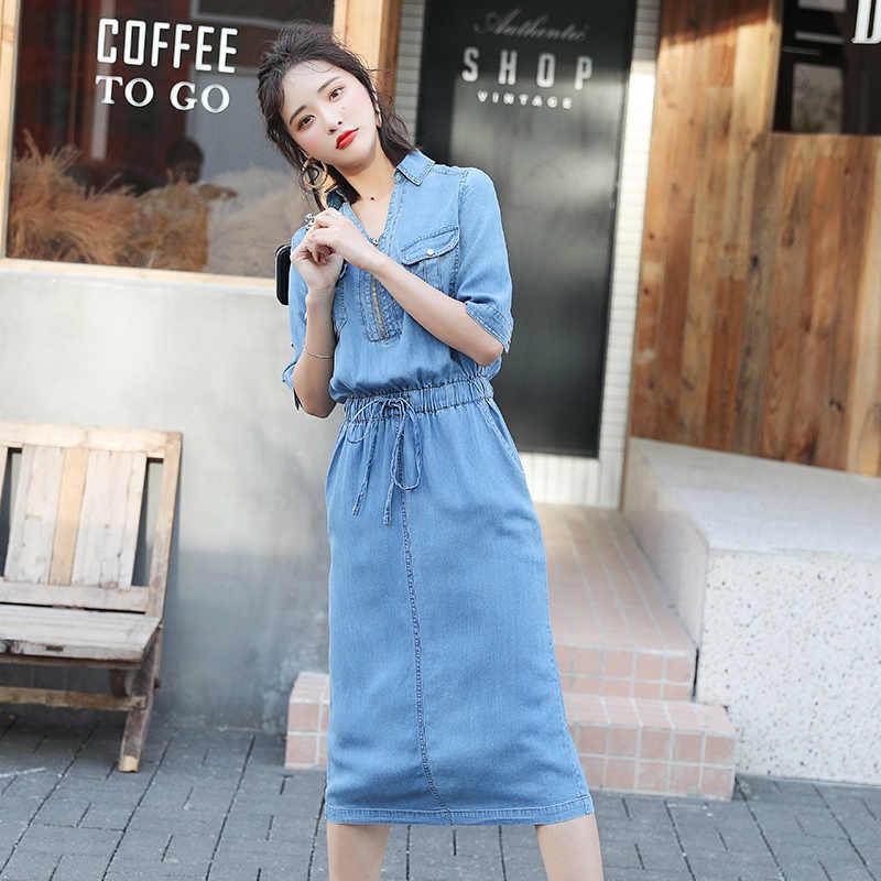 AIYANGA 2019 плюс Размеры платье из джинсовой ткани Для женщин летние эластичный с коротким рукавом талии v-образным вырезом свободное платье джинсовое платье